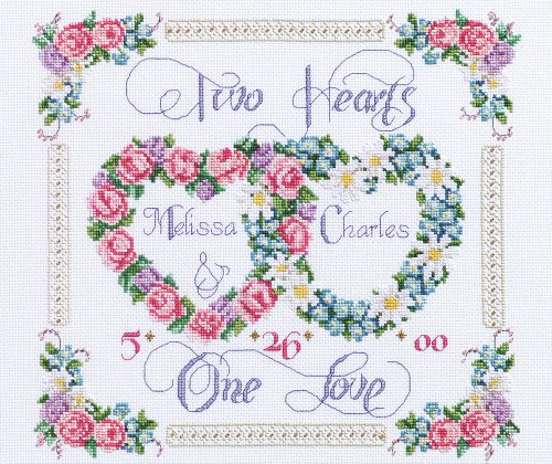 Heart Wedding Sampler (Janlynn Cross Stitch Kit, Two Hearts One Love)