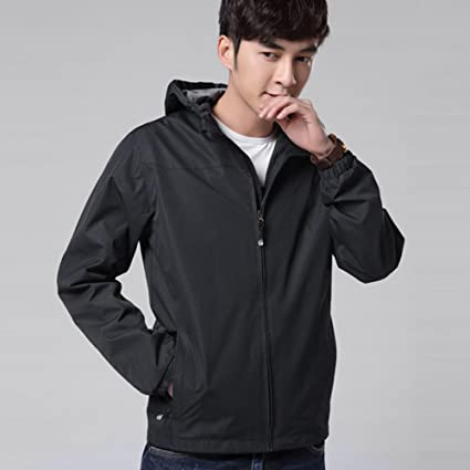 Color : Blue, Size : XL NIAN Sports Jacket Men Spring and Autumn Mens Thin Jacket Casual Hooded Outdoor