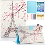 iPad mini 4 Case Cover, Dteck(TM) Ultra Slim PU Leather Stand Smart Cover with [Auto Sleep/Wake Feature] [Corner Protection] Protective Case for Apple iPad mini 4 (2015 Release), Cherry & Eiffel Tower