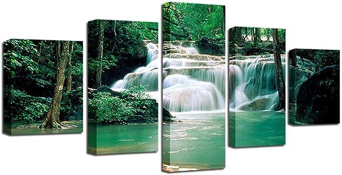 YB Lienzo HD Impresos Bebroom Pared Arte 5 Piezas Bosque Mar Cascada Cuadro Árbol Paisaje póster Vivienda Cultura, sin Marco, 30 x 40 30 x 60 30 x 80 cm: Amazon.es: Juguetes y juegos