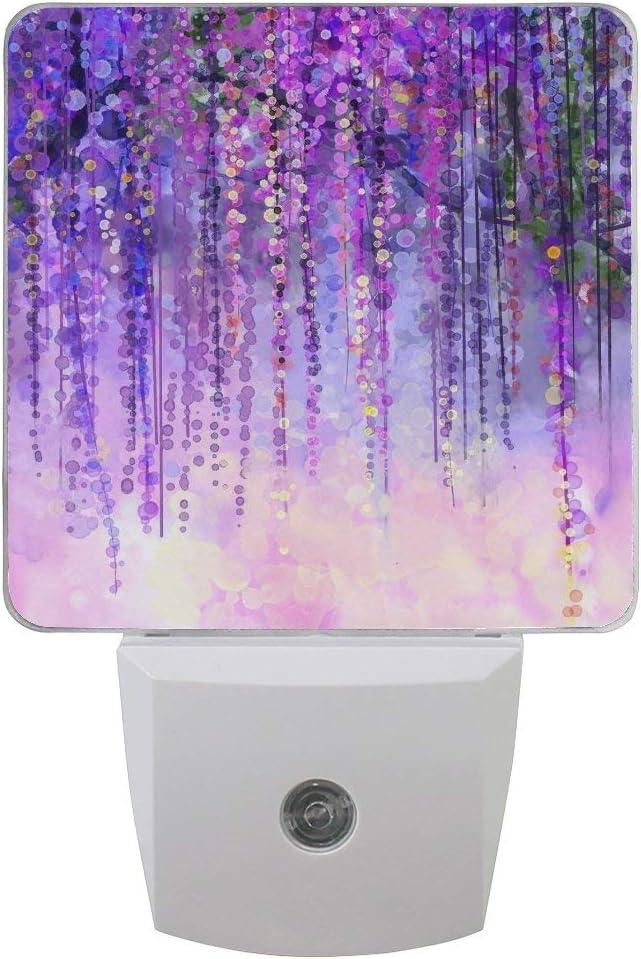 AOTISO 2 Pack de flores de color abstracto Floral Night Light Sensor de anochecer a amanecer Plug in Night Decoración para el hogar Lámpara de escritorio