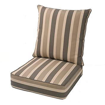 LNC Indoor Seat Cushions Outdoor Cushion Deep Seat Chair Cushion Brown  Cabana Stripe