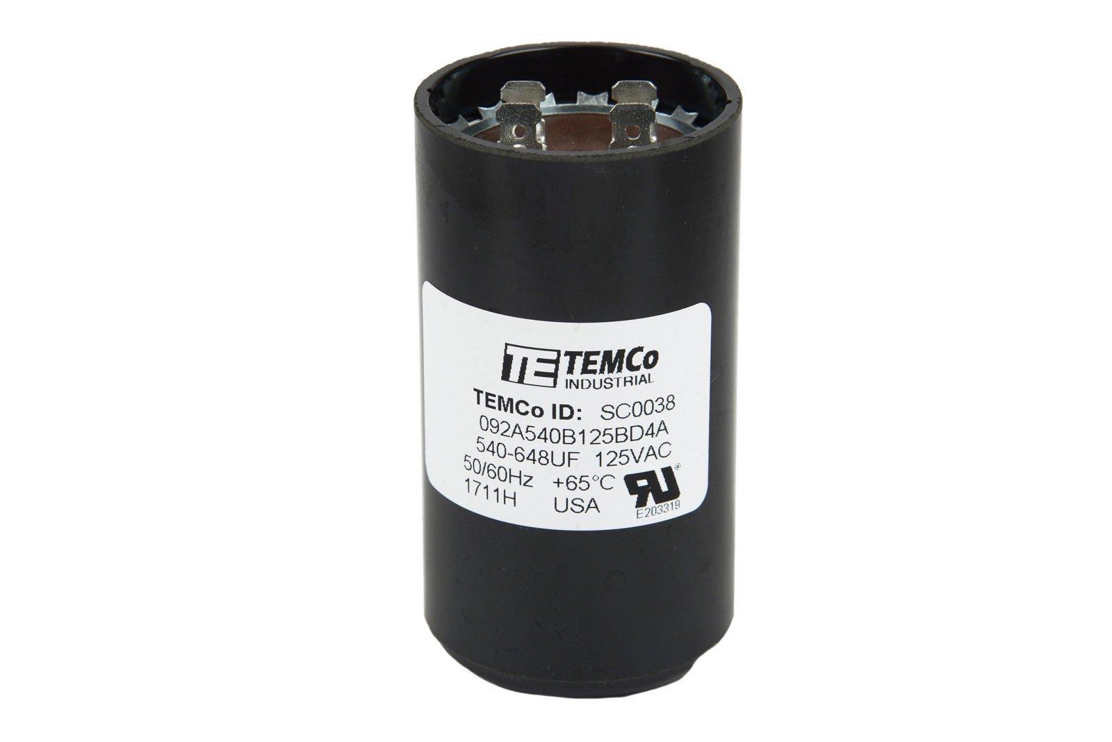 TEMCo Motor Start Capacitor SC0038-540-648 mfd 110-125 V VAC Volt uf Round HVAC AC Electric