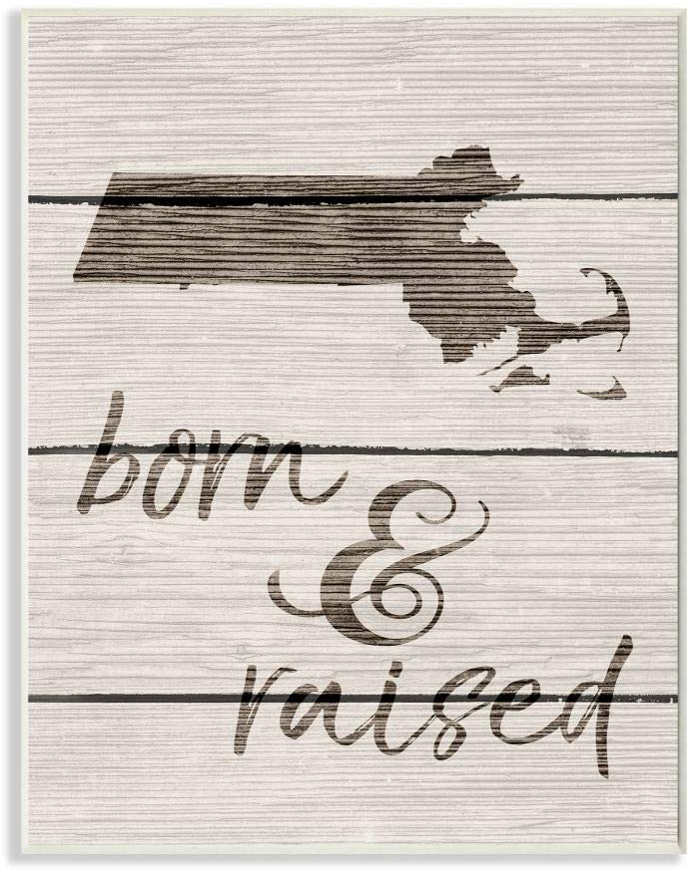 Stupell Industries Born and Raised Massachusetts Wall Plaque, 10 x 15, Design by Artist Daphne Polselli