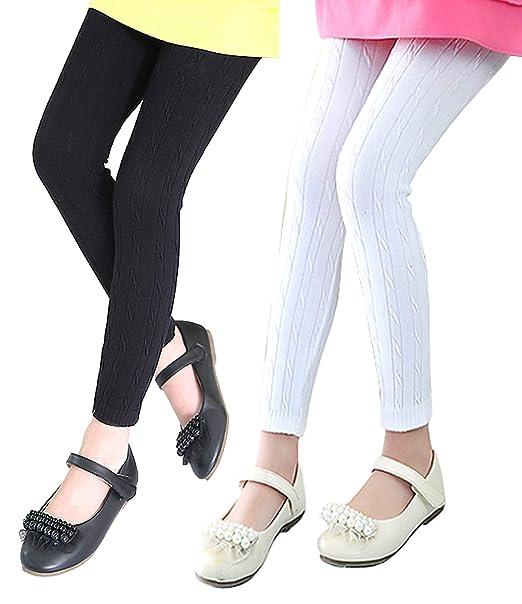 595f3d1ba0f Amazon.com  Bezsoo Girls Cotton Stretchy Soft Footless Knit Leggings Tights   Clothing