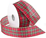 50 yard wired ribbon - Morex Ribbon Festival Wired Plaid Fabric Ribbon, 1-1/2-Inch by 50-Yard Spool, Red