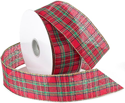Morex Ribbon Festival Wired Plaid Fabric Ribbon, 1-1/2-Inch by 50-Yard Spool, Red -