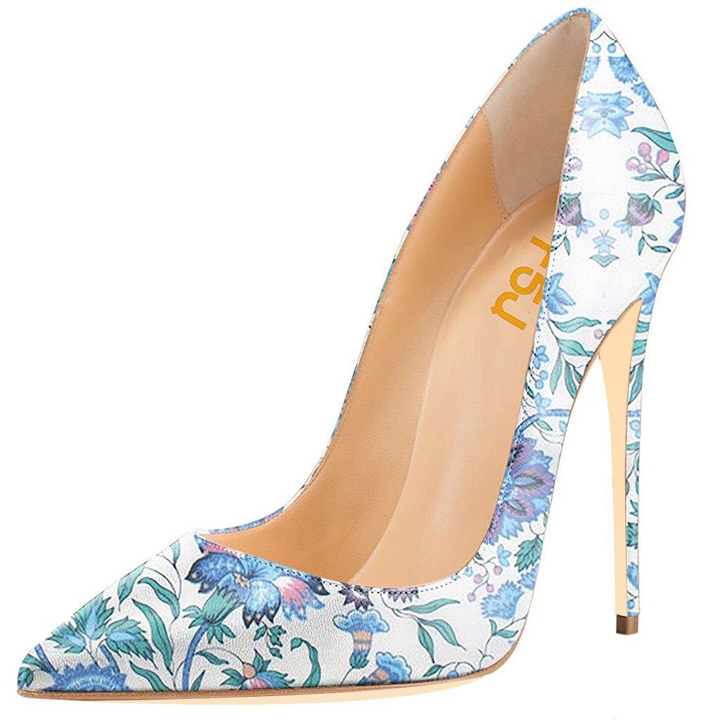 FSJ Women Fashion High Heel Stilettos Pointed Toe Pumps Evening Dress Printed Shoes Size 4-15 US B01CA386SM 14 B(M) US|Irises