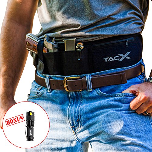 Belly Band Holster for Active Concealed Carry | IWB/OWB Pistol Belt | RFID Block Water Proof Zipper Gear Pocket | Spare Mag Pouch | Running, Hiking, Jogging, Travel