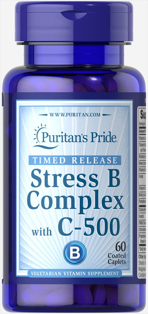 Puritan's Pride Stress Vitamin B-Complex with Vitamin C-500 Timed Release-60 Caplets