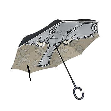 BENNIGIRY Elefanto Elefante Paraguas Inverso Plegable Doble Capa Inverso Paraguas Protección UV Gran Recta Coche Lluvia