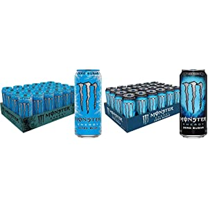 Monster Energy Ultra Blue, Sugar Free Energy Drink, 16 Ounce (Pack of 24) & Zero Sugar, Low Calorie Energy Drink, 16 Ounce (Pack of 24)