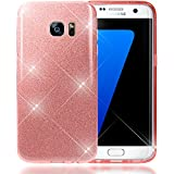 NALIA Glitter Case compatible with Samsung Galaxy S7 Edge, Ultra-Thin Mobile Sparkle Silicone Back Cover, Protective Slim-Fit Shiny Protector Skin, Shock-Proof Crystal Gel Bling Bumper - Rosa Pink