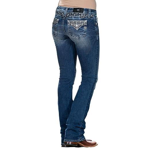 6db3d832169 Miss Me Women's Metallic Flowers Embellished Back Pocket Boot Cut Jeans  (Medium Blue, ...