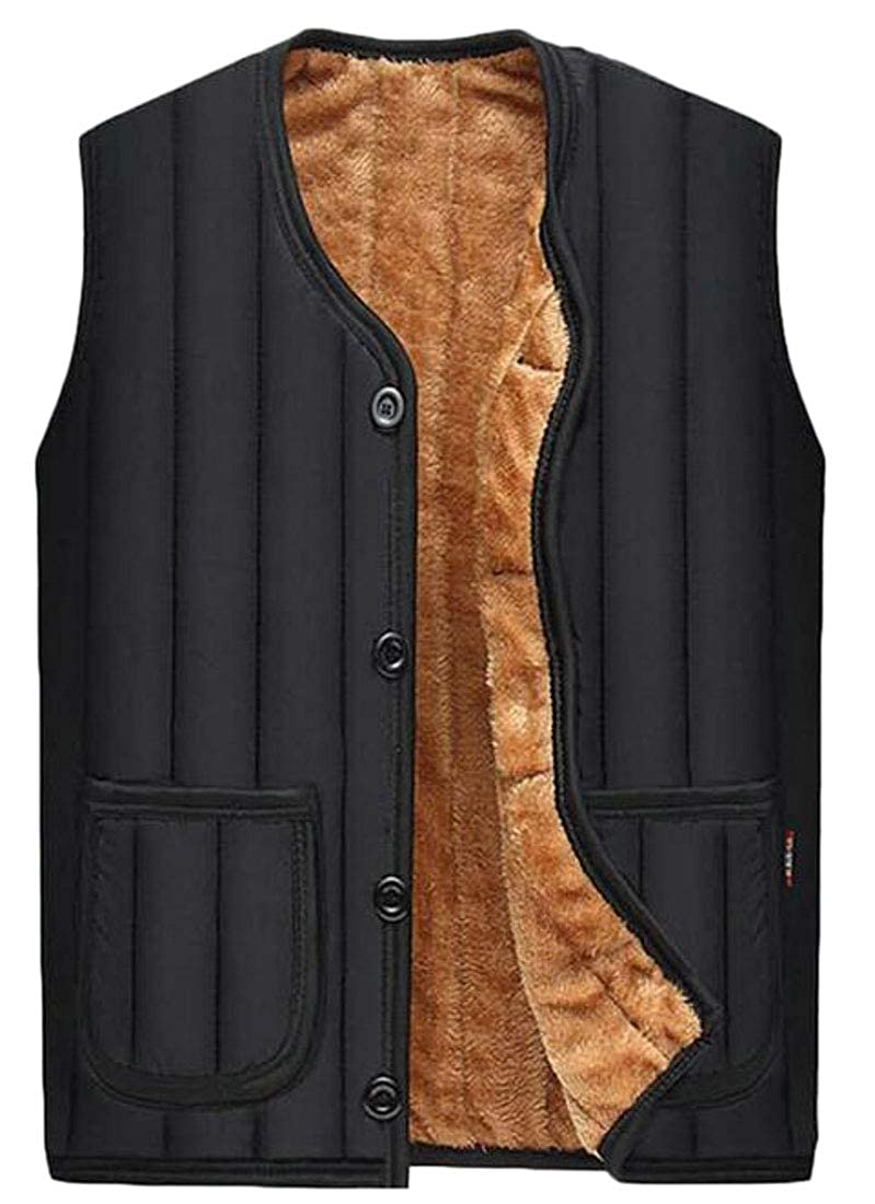 Pandapang Mens Fleece Comfort Faux Fur Lined Quilted Sleeveless Jacket Down Vest