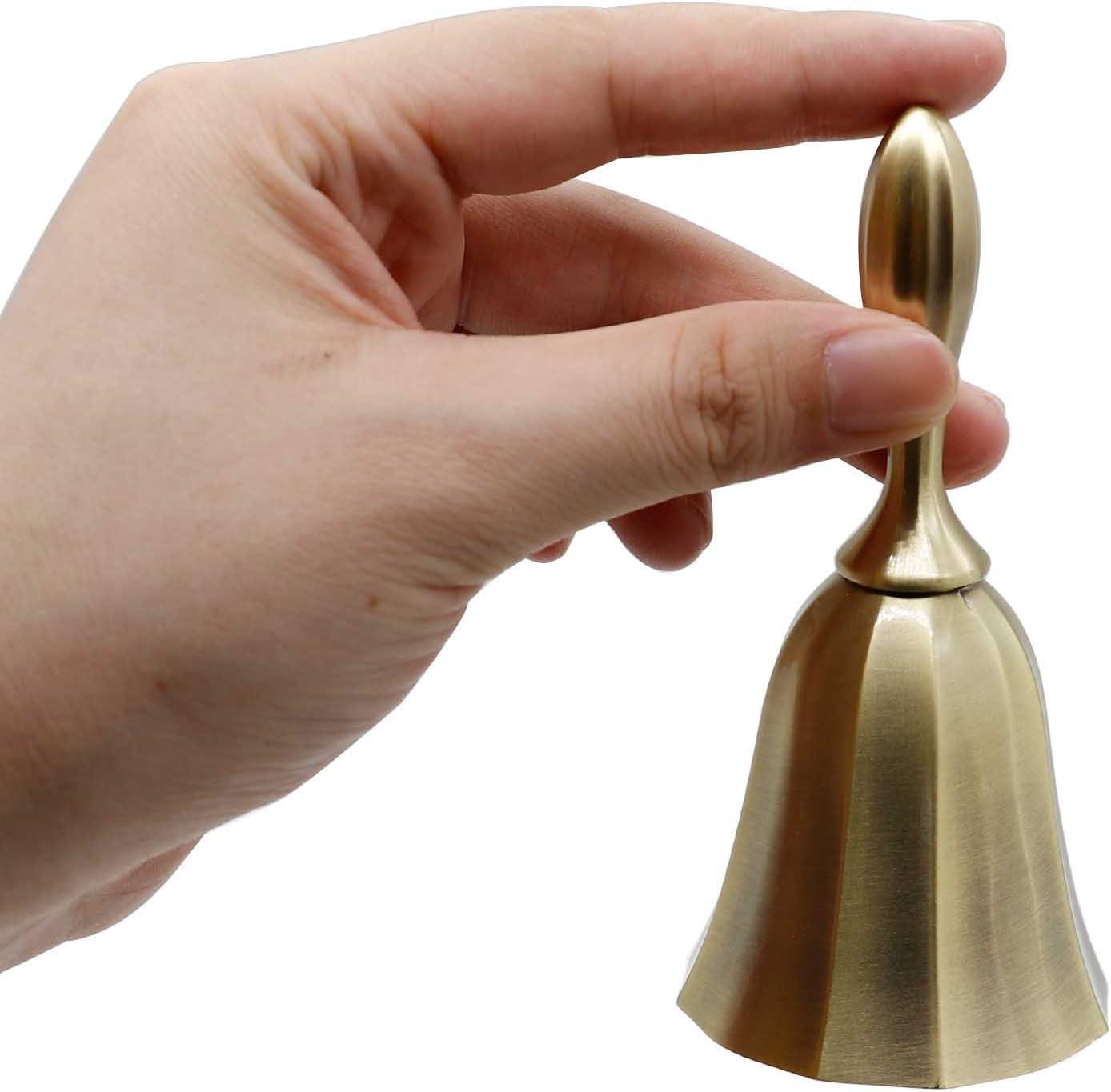 Christams Bell AVESON Hand Bell Tin Color Metal Loud Call Bell Alarm Hand Held Service Call Bell Desktop Bell Tea Dinner Bell Game Bell