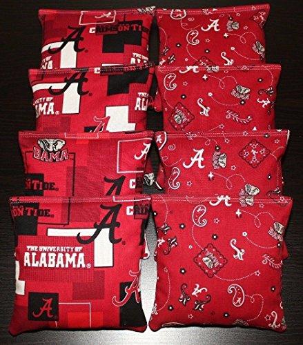 - BackYardGamesUSA 8 Cornhole BEANBAGS Made w University of Alabama Crimson Tide Fabric