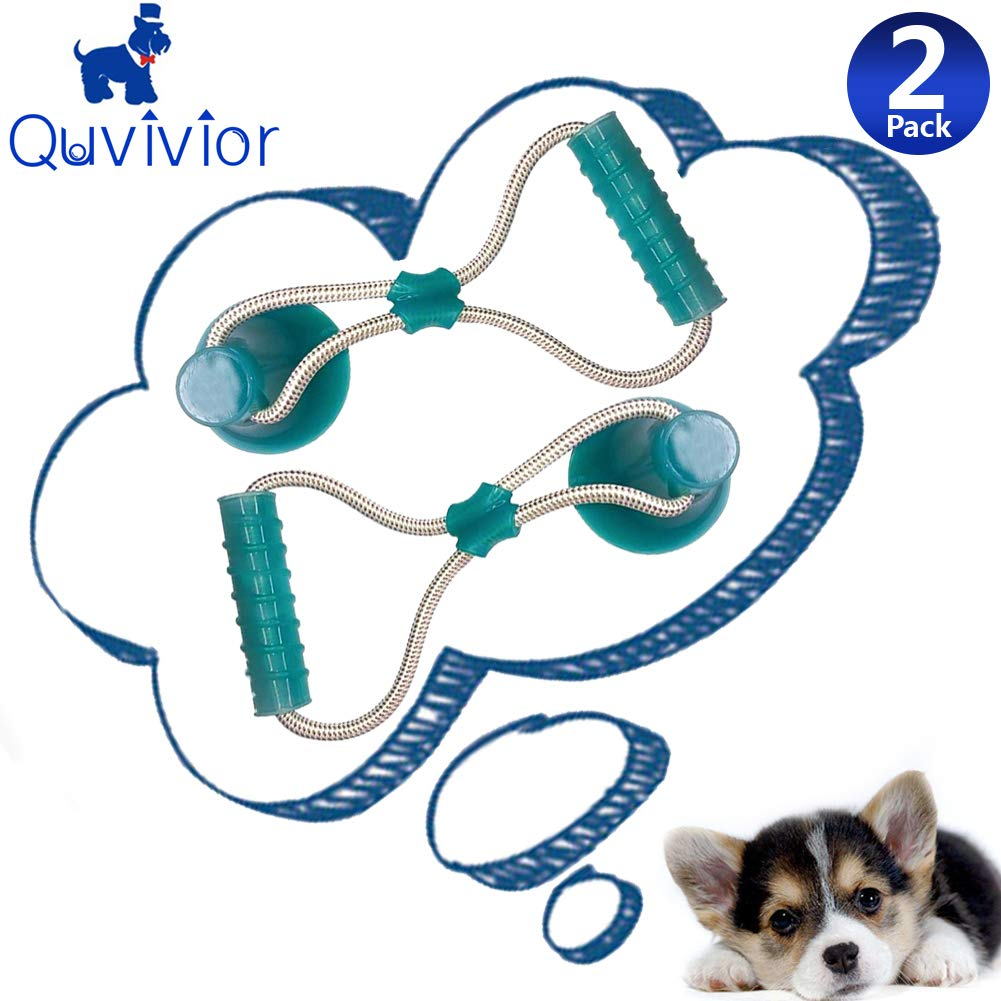 Multi-Function Dog Molar Stick Toy with Suction Cup Durable Dog Suction Tug Toy Self-Playing Rubber Ball Toy with Suction Cup Dog Ropes Toy Dog Interactive Molar Chew Rubber Bite Chew Toys green-2PCS by Quvivior