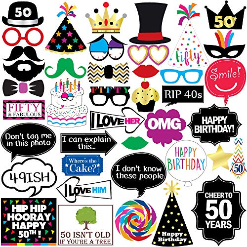 50th Birthday Photo Booth Party Props - 40 Pieces - Funny 50th Birthday Party Supplies, Decorations and Favors (50th Birthday Party Ideas)