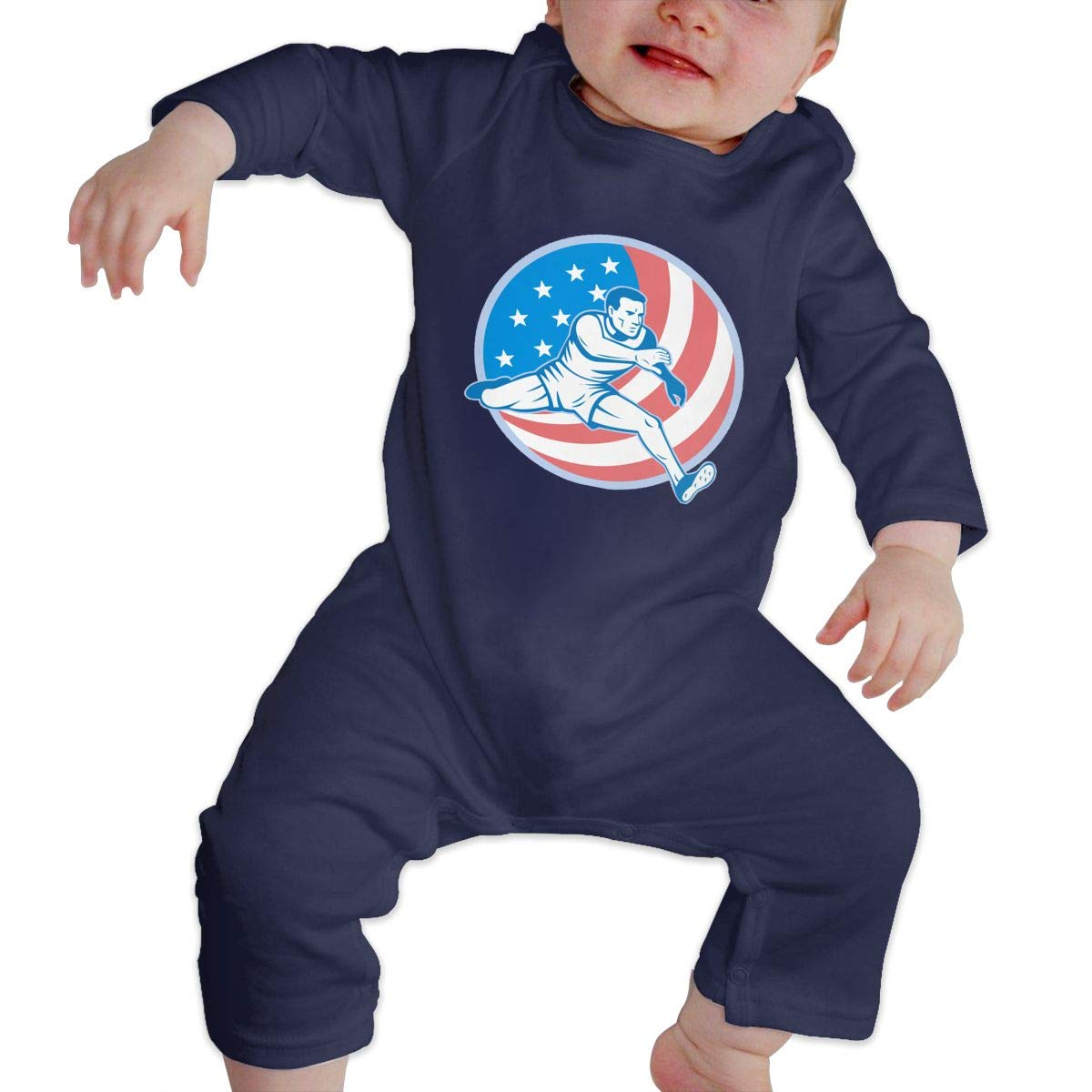 Q64 Toddler Round Collar Track and Field US Flag Long Sleeve Romper Jumpsuit 100/% Cotton Suit 6-24 Months