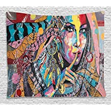 Ambesonne Modern Art Tapestry by, Sexy Girl with Tribal Dreamcatcher and Ethnic Murky Oriental Bohemian Paint, Wall Hanging for Bedroom Living Room Dorm, 60 W X 40 L Inches, Multicolor