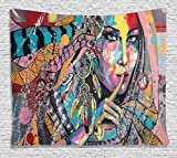 Ambesonne Modern Art Tapestry, Sexy Girl with Tribal Dreamcatcher and Ethnic Murky Oriental Bohemian Paint, Wall Hanging for Bedroom Living Room Dorm, 60 W X 40 L inches, Multicolor