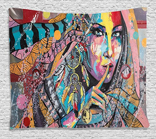 Ambesonne Modern Art Tapestry, Sexy Girl with Tribal Dreamcatcher and Ethnic Murky Oriental Bohemian Paint, Wall Hanging for Bedroom Living Room Dorm, 60 W X 40 L Inches, (Bohemian Art)