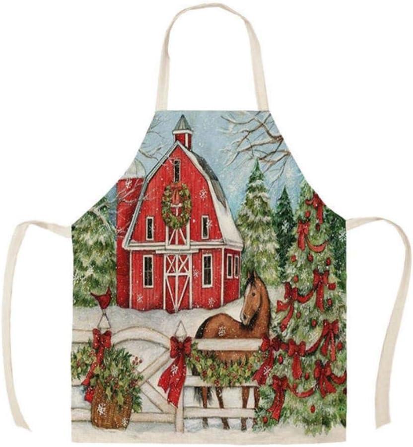 ZFWB Delantal de Cocina camión Rojo Árbol de Deseos de Navidad Delantal de Lino de algodón sin Mangas para Hombres Herramientas de Limpieza del hogar 38x47cm WQI84008