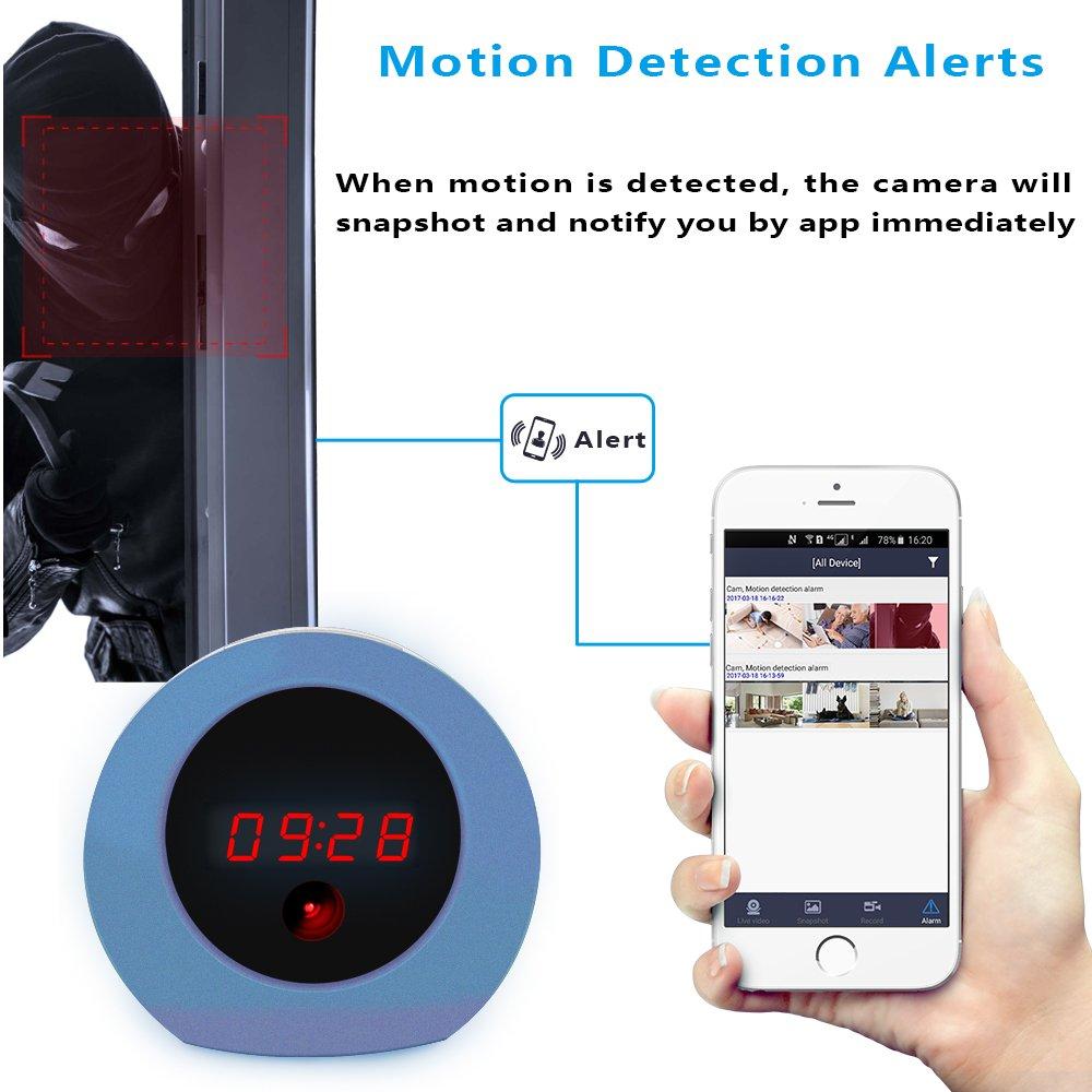 Aisoul Wifi Cámara Oculta Reloj - HD 1080p IP Cámara de Seguridad Interior Inalámbrica con App Video en Vivo, Detección de Movimiento y Batería Recargable, ...