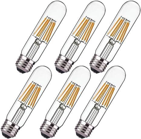 Dimmable 6w Edison Led Tubular Bulb T10 Warm White 2700k Vintage Led Filament Light Bulb E26 Medium Base 60 Watt Bulb Equivalent 550lm Clear Glass Cover Pack Of 6 Amazon Com
