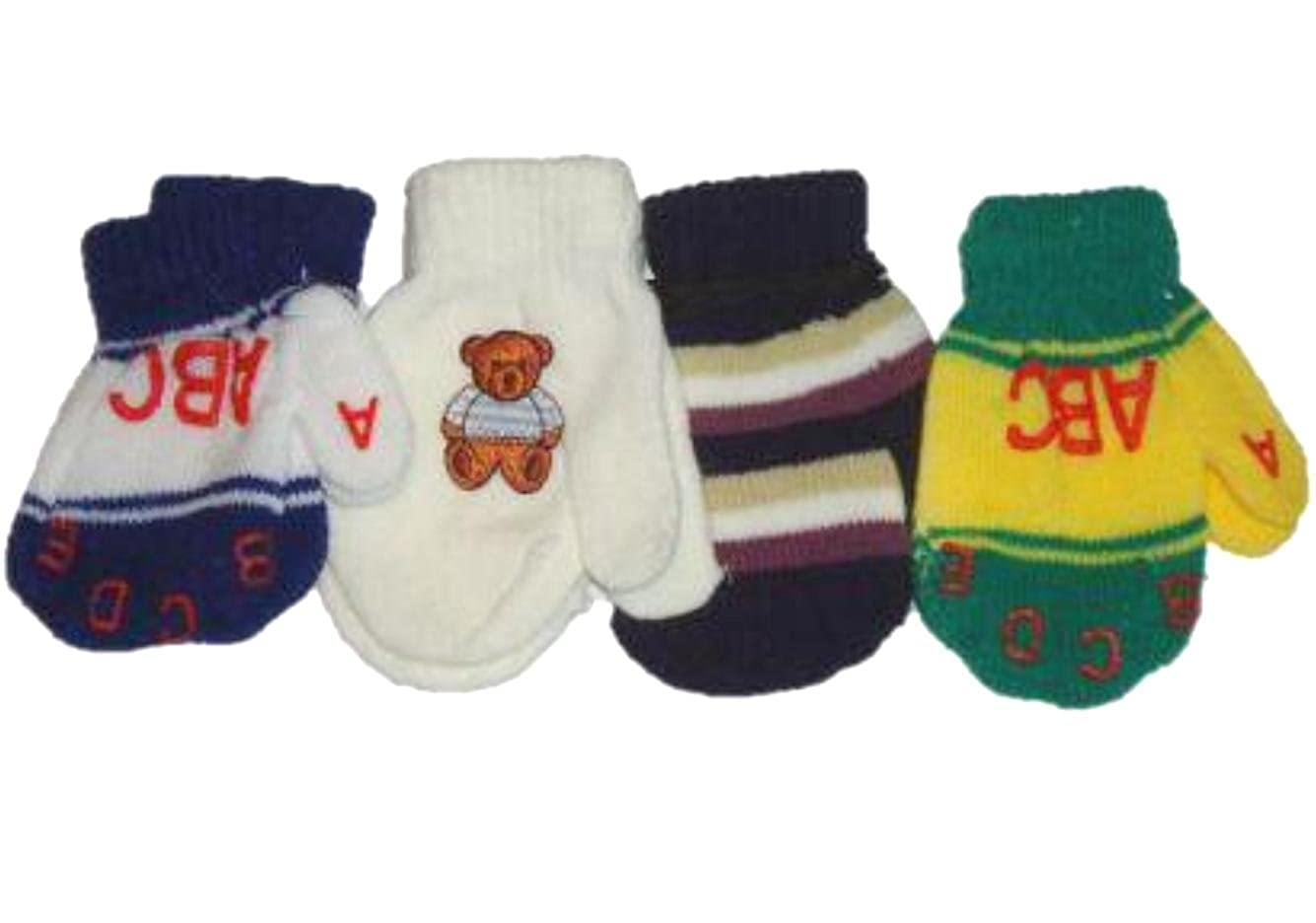 Set of Four Pairs of Magic Stretch Mittens for Infants Ages 3-12 Months