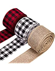 Whaline 3 Rolls Christmas Wired Edge Ribbons, 30 Yards x 2 Inches Black Red Plaid Ribbon, Black White Buffalo Plaid Ribbon and Burlap Craft Ribbon for DIY Gift Wrapping, Fall Crafts Decoration