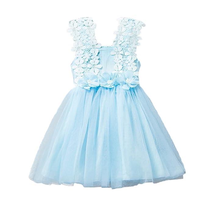 Niñas Cordón Floral Princesa Vestido De Fiesta Vestidos De Ocasión Especial Trajes De Ropa Azul 100CM