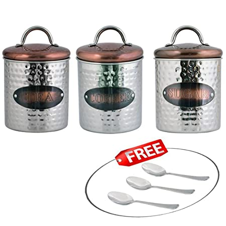Kosma set of 3 stainless steel tea sugar coffee canister sets kosma set of 3 stainless steel tea sugar coffee canister sets kitchen storage jar sets negle Image collections