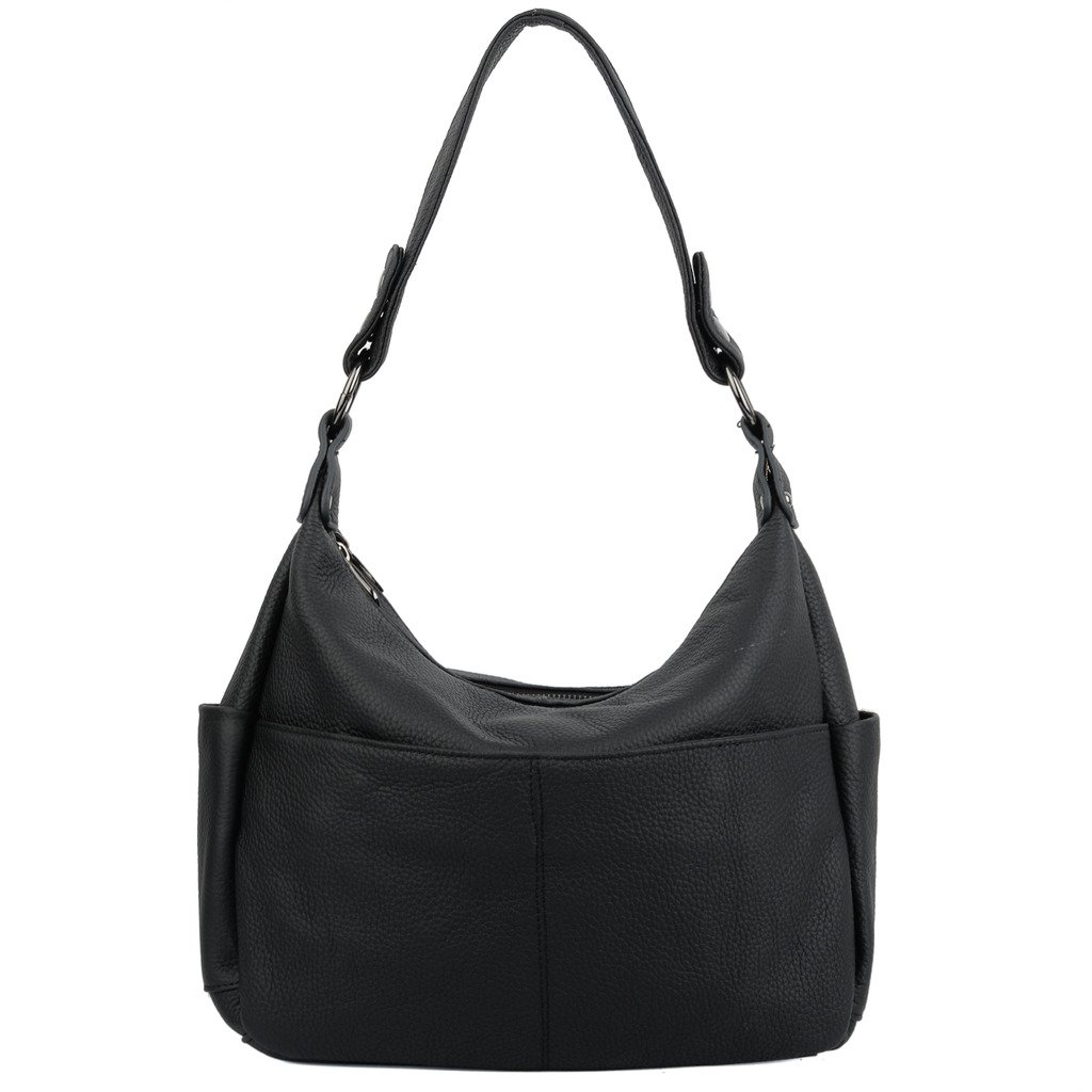 YALUXE Women's Double Zipper Cowhide Leather Hobo Style Shoulder Bag Black