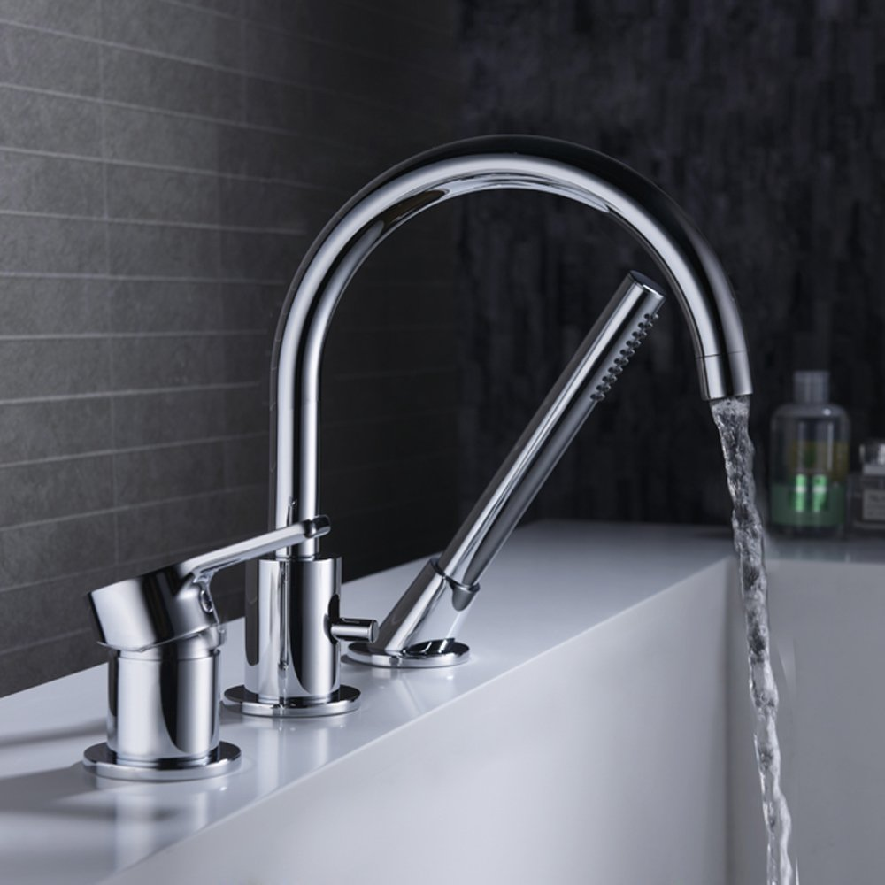 CREA Bathtub Faucet With Pull Out Sprayer 3 Hole Widespread Brass Bathroom Vanity Sink Tap Lavatory Faucet , Chrome by CREA (Image #4)