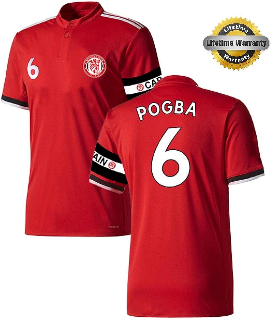 Pogba Jersey Youth #6 Kids Soccer Jersey Shorts Gift = Premium Gift Kids Boys Girls Football Paul Pogba 6