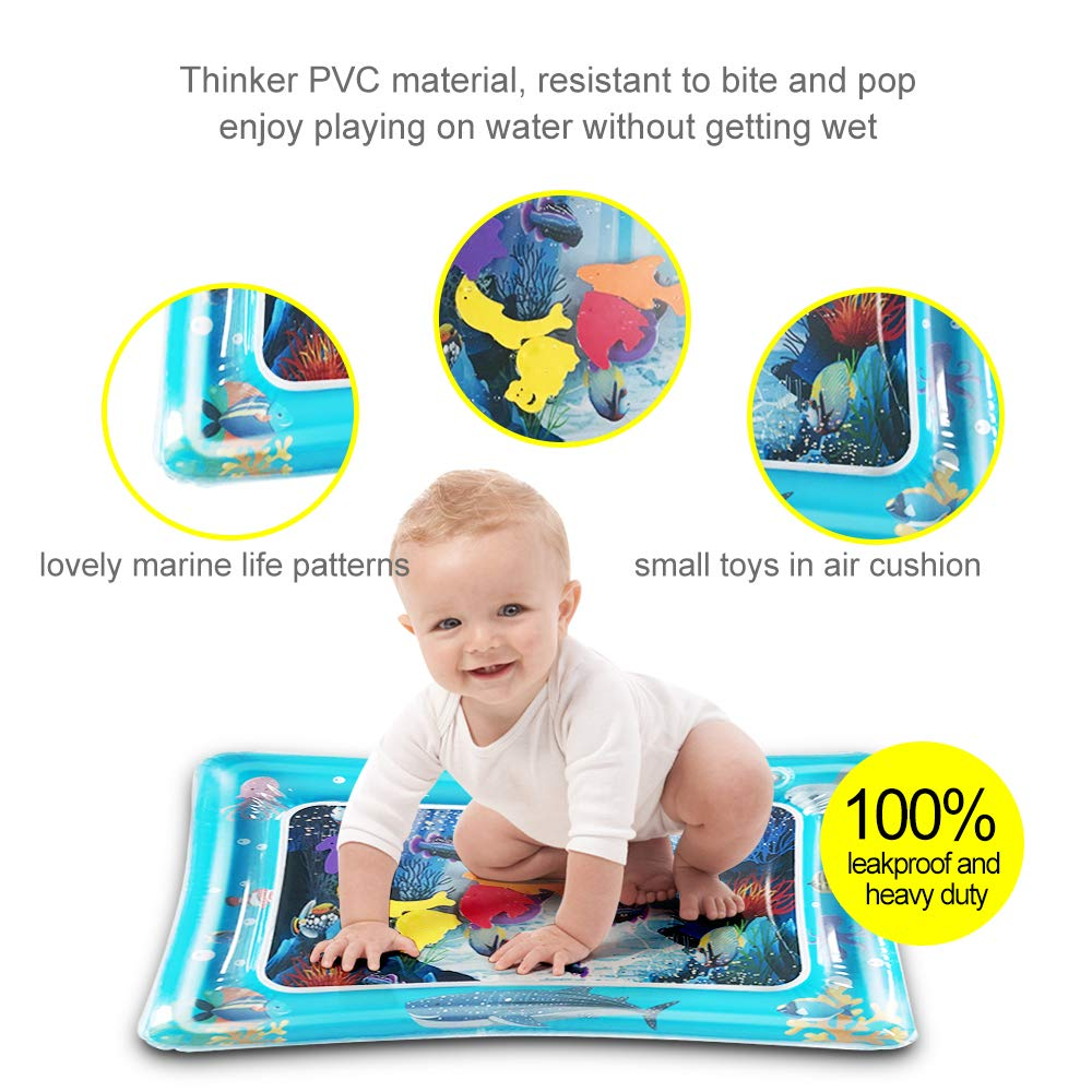 LAPPAZO Water Play Mat Inflatable Tummy Time Play Active Center for Baby\'s Stimulation Growth or Cooling the Pets
