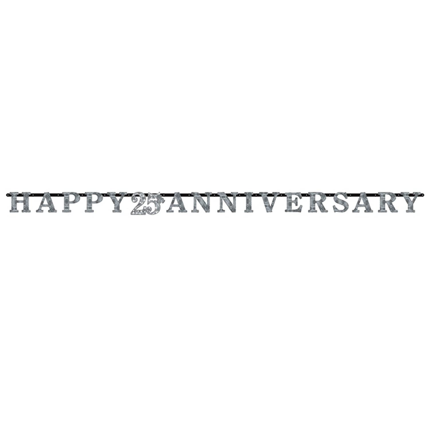 10ft Silver Happy 25th Anniversary Letter Banner 25 Wedding Party Decoration