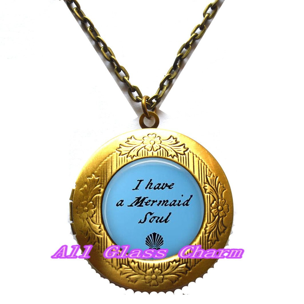 Beautiful Locket Necklace,I have a Mermaid Soul Locket Necklace Locket Pendant Mermaid Charm Mermaid Jewelry,AS0136
