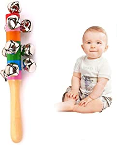 Baby rattles, baby holding colorful toys, cute rainbow string bells with sound 3 6 9 12 months and newborn gifts