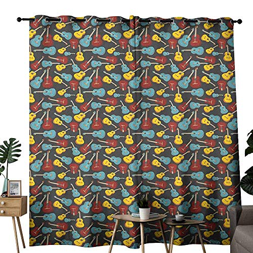 duommhome Guitar Classical Curtain Antique Wooden Acoustic Guitars Illustration Folk Country Music Flamenco Retro Style Suitable for Bedroom Living Room Study, etc.W96 x L108 Multicolor ()