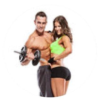 alfombrilla de ratón Fitness hermosa joven pareja deportivo con mancuernas - ronda - 20cm