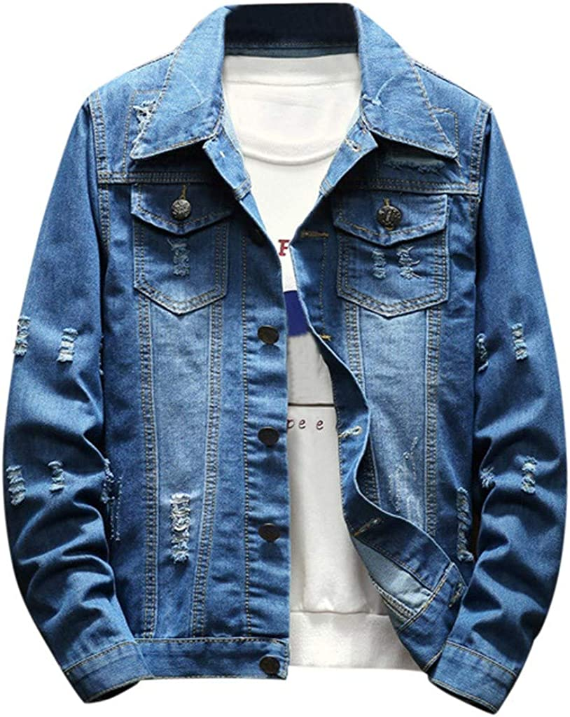 Uqiangy Mens Classic Fashion Casual Slim Lightweight Ripped Hole Denim Jacket Outerwear Top