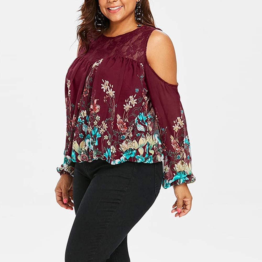 Pumsun Women Cold Shoulder Long Sleeve Plus Size Lace Floral Print Blouse Tops
