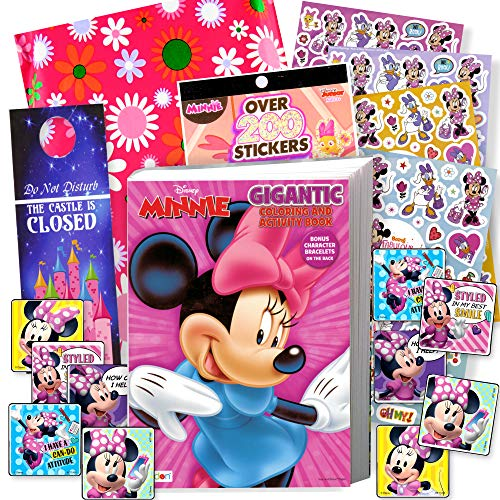 Disney Minnie Mouse Coloring Book and Stickers Gift Set - Bundle Includes Gigantic 192 pg Minnie Mouse Coloring Book, Minnie Mouse Stickers, and 2-Sided Door Hanger, in Specialty Gift -