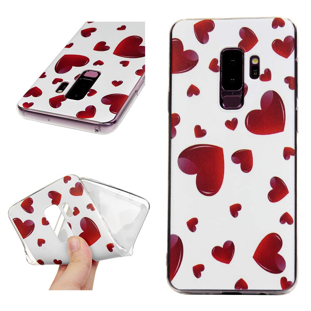 Galaxy S9 Plus Case, S9 Plus Cover Ultra Slim HD Clear & Full TPU Soft Shockproof Drop Pretective Skin Shell for Samsung Galaxy S9 Plus 2018 Version, Red Heart by SUPWALL (Image #2)