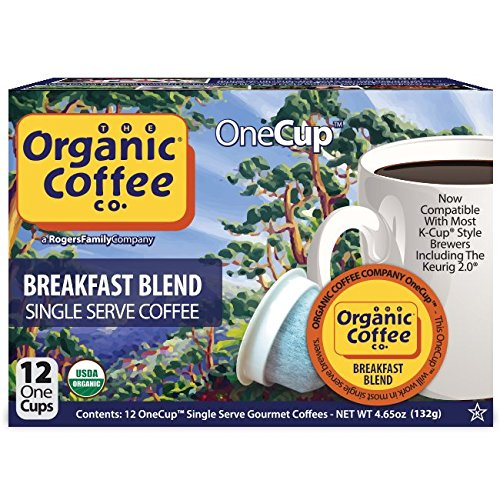 The Organic Coffee Co. OneCup, Breakfast Blend, 12 Count- Single Serve Coffee, Compatible with Keurig K-cup Brewers, USDA Organic (Single Organic)