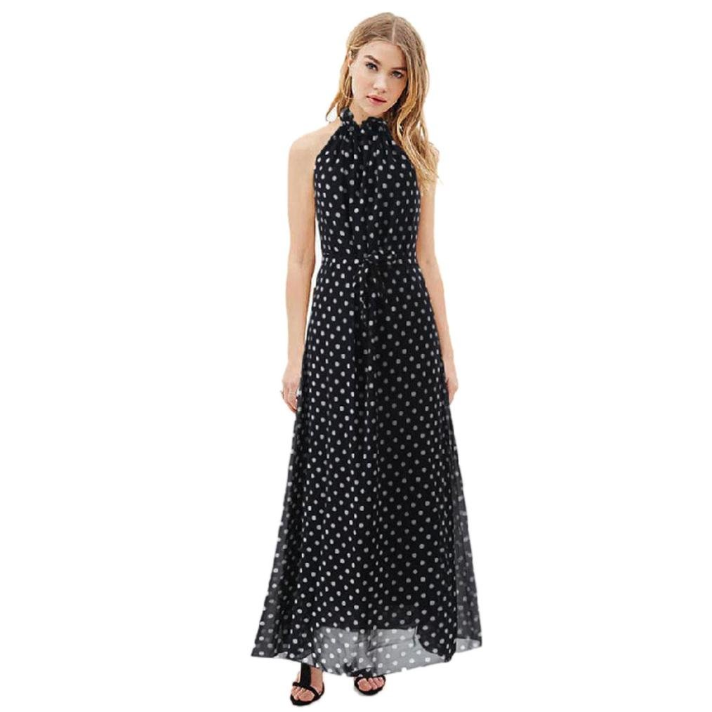 Hot Women Dress! AMA(TM) Women Summer Sleeveless Polka Dots Boho Dress Maxi Long Evening Party Dress Beach Sundress (M, Black)