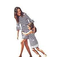 Mommy & Me Ragazze Stampa a Righe Abito da Principessa in Pizzo, Stampa Striscia Bohemien Cinque Maniche Vestito Sottile per le Donne, Casual Vestiti per la Famiglia